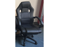 New Office Chair PU Black Executive Computer Chair Fixed Armrests Gas Lift