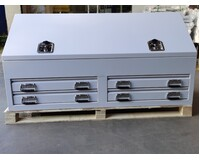 White Steel Toolbox 1500mm Truck Box Industrial Ute Box With 2 Drawers & Shelves