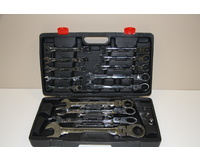 "17 Piece Glory Flexible Ratchet Spanner Sets 8-32mm With 3 Square Drives 1/4"", 3/8"" & 1/2"""