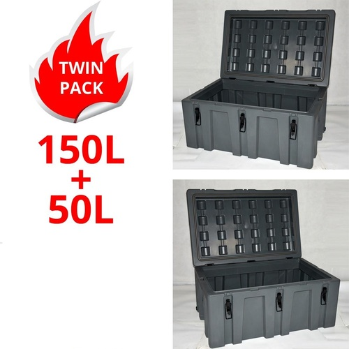Poly Storage Case Twin Pack 150L + 50L Heavy Duty Poly Cargo Box Plastic ToolBox Trade Box